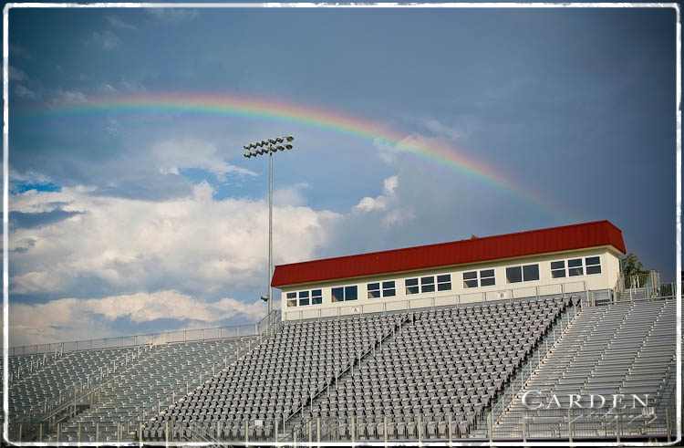Rainbow over Tullahoma High School football stadium