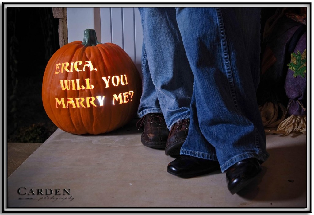 Marriage proposal carved into a pumpkin