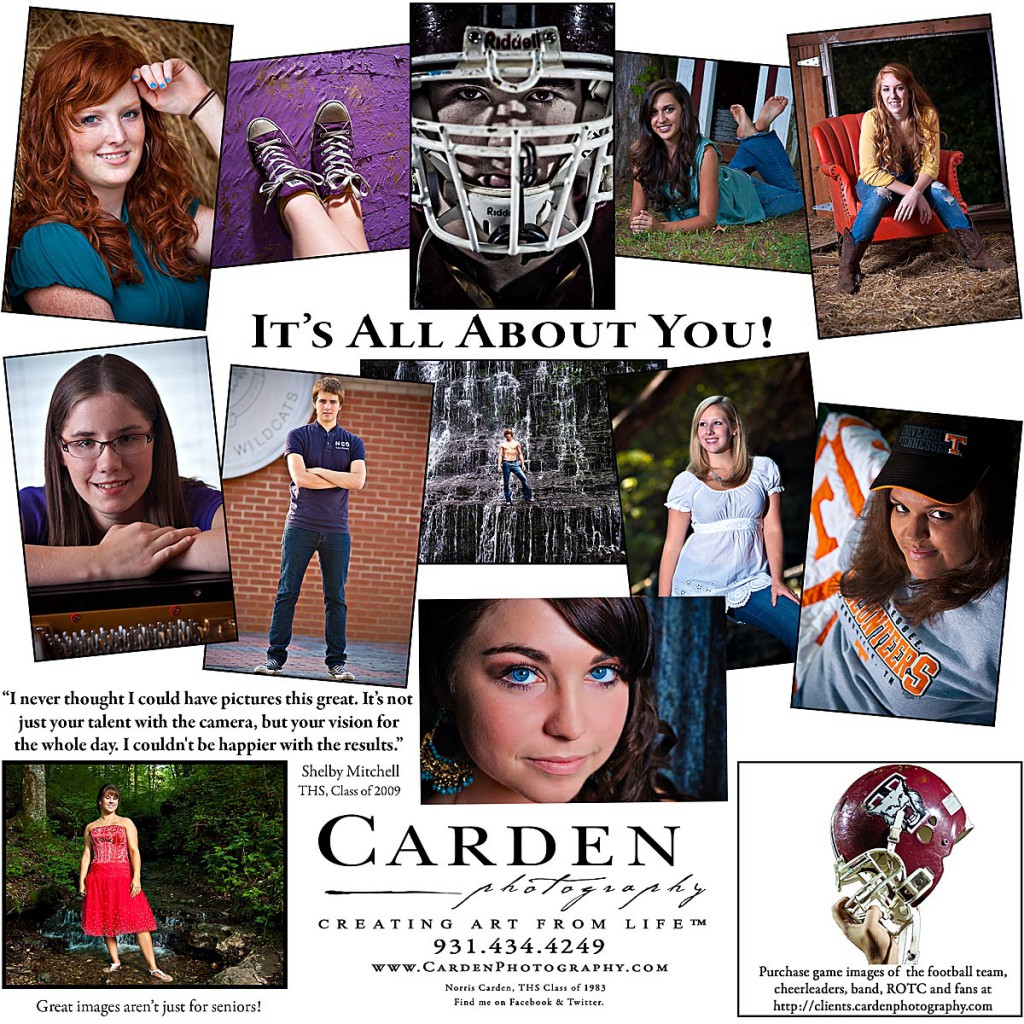 Carden Photography senior portrait ad for Tullahoma High School newspaper
