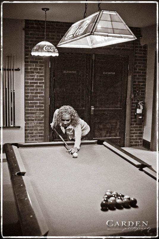 Megan playing pool